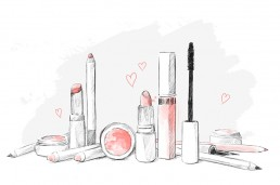 Illustration of various makeup products