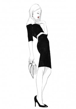 Illustration of a woman with attitude in a black dress