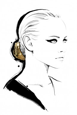 Illustration of a woman wearing a gold hair accessory