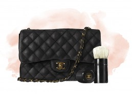 Illustration of a Chanel bag and brush