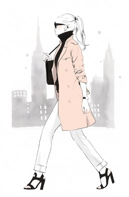 Illustration of a girl walking in NYC wearing a trenchcoat