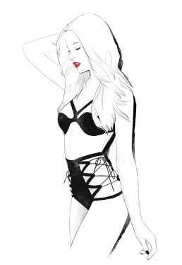 Illustration of a girl in kinky lingerie