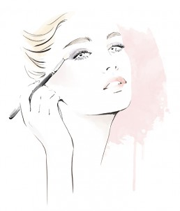 Illustration of a woman applying eye shadow