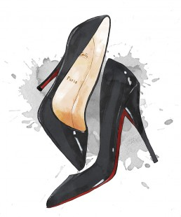 Illustration of a pair of red bottomed heels