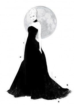 Illustration of a woman in a black gown under the full moon