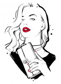 Illustration of a woman wearing red lipstick and nail polish