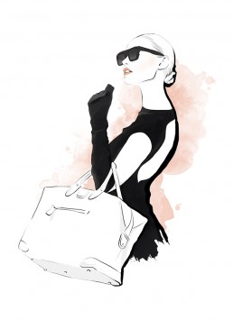 Illustration of a woman dressed in black carrying a big handbag