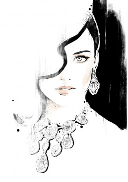 Illustration of a woman wearing big statement jewelry