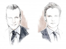 Illustration of two gentleman dressed in dark blue suits
