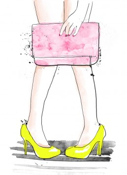 Illustration of an insecure girl with a pink handbag