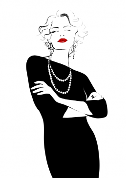 Illustration of a woman with crossed arms wearing black dress and pearl necklace