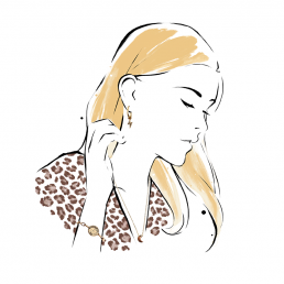 Illustration of a girl wearing jewelry