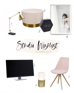 Wishlist consisting of a desk lamp, pouf, clock, art print, monitor, lamp and pink chair