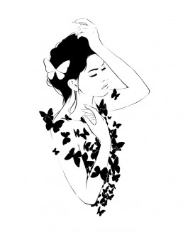Illustration of a woman covered in black butterflies