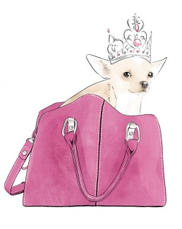 Illustration of a chihuahua in a handbag wearing a crown
