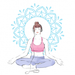 Illustration of a girl wearing headphones while peacefully meditating