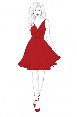 Illustration of a fashion model in a red dress
