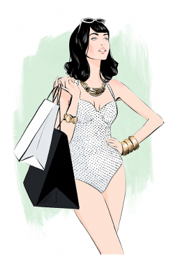 Illustration of a woman in a swimsuit carrying shopping bags