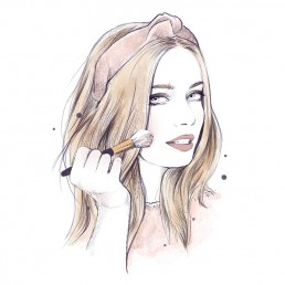 Illustration of a girl applying makeup with a brush