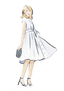 Illustration of a young woman in a pleated summer dress and high heels