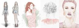 Four digital pastel fashion illustrations
