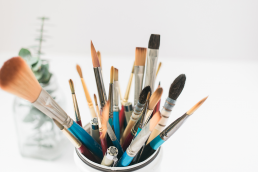 Can of paint brushes