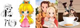 Four digital manga drawings