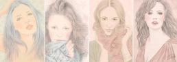 Four digital pastel portraits