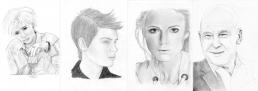 Four pencil portraits