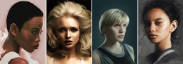 Four highly realistic digital portraits