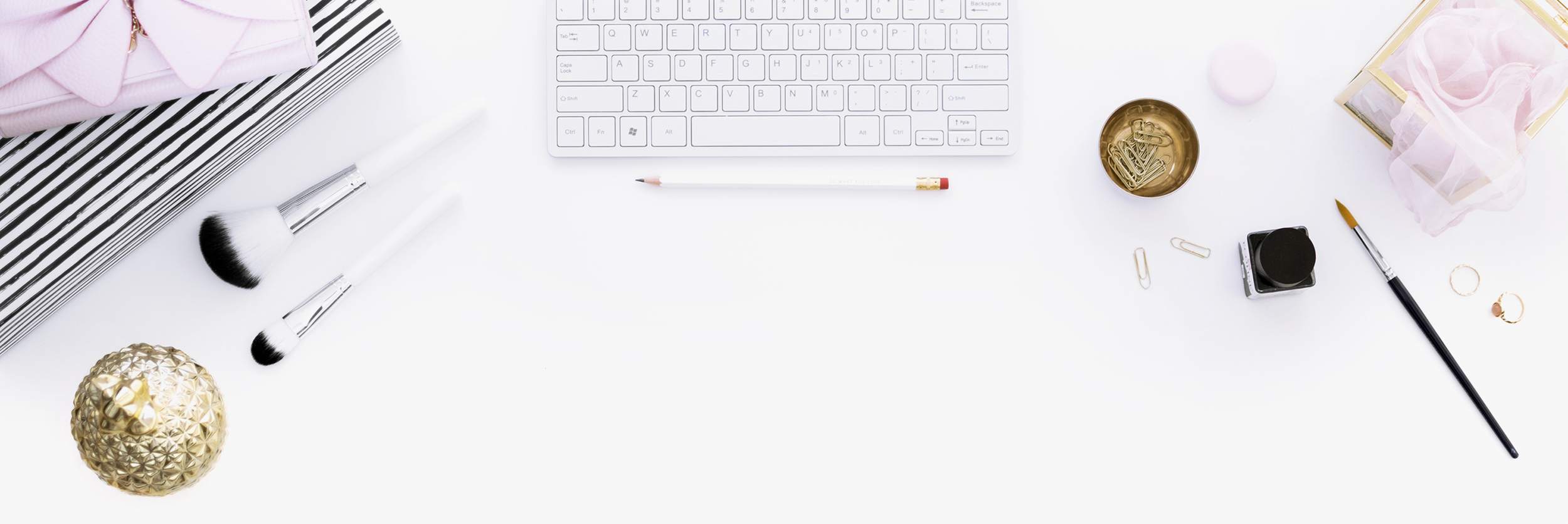 Keyboard, art materials and feminine accessories