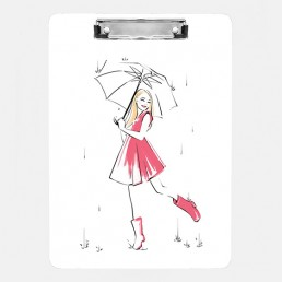 Illustration of a girl in a pink dress holding an umbrella in the rain