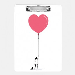 Illustration of a girl with a cat holding a pink heart balloon