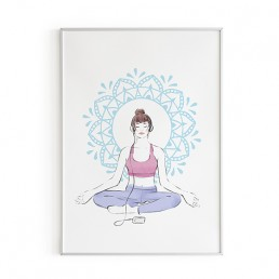 Illustration of a girl in pastel clothes meditating
