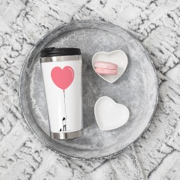 Travel tumbler with have a big heart print