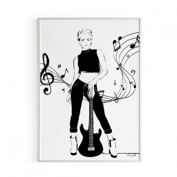 Illustration of a girl dressed in black and white leaning on a guitar