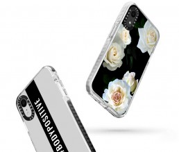 Two illustrated Apple iPhone cases falling