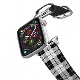 Apple Watch band with black and white design