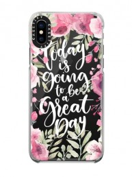Apple iPhone case with floral design and Today is Going to be a Great Day quote